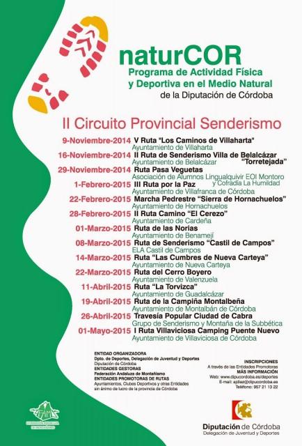 Cartel II Circuito de Senderismo Diputación de Córdoba NATURCOR 2014-15