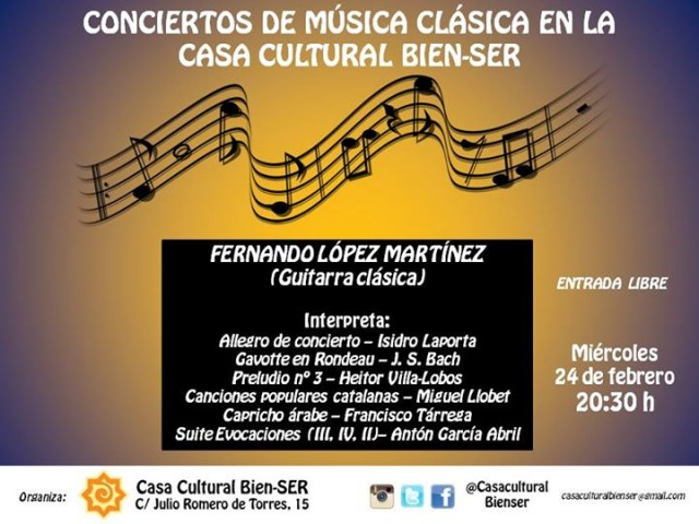 Pr ximos eventos casa cultural bien ser conciertos de for Casa piscitelli musica clasica