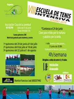 cartel escuela tenis intensiva 2019